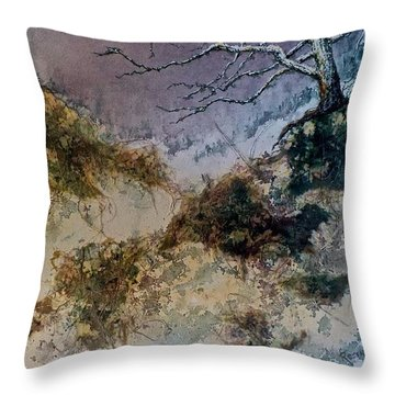 Throw Pillow featuring the painting Winter's Morn by Carolyn Rosenberger