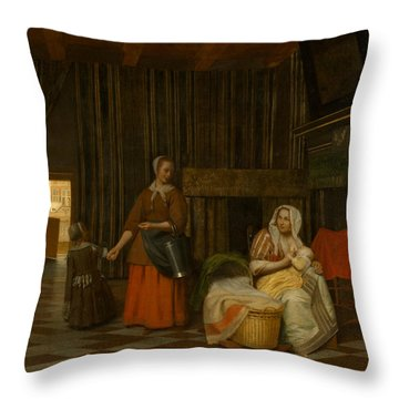 Pieter De Hooch Throw Pillows
