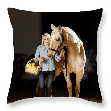 Woman And Horse With Apples Throw Pillow