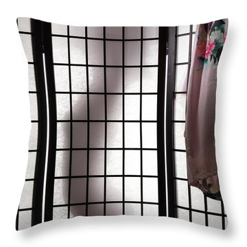 Woman Behind Shoji Screen Throw Pillow by Oleksiy Maksymenko