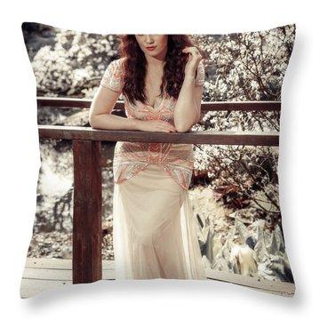 Woman On Wooden Bridge Throw Pillow