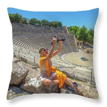 Woman Photographer Selfie Throw Pillow