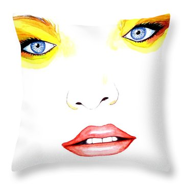 Woman Scent Watercolor Painting Throw Pillow