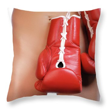 Woman With Boxing Gloves Throw Pillow by Oleksiy Maksymenko