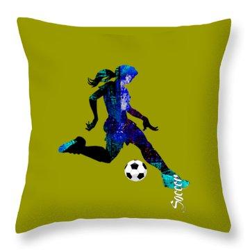 Womens Girls Soccer Collection Throw Pillow
