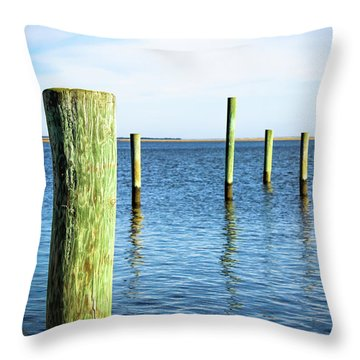 Throw Pillow featuring the photograph Wood Pilings by Colleen Kammerer