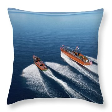 Wooden Boat Aerial Throw Pillow by Steven Lapkin