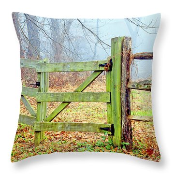 Wooden Fence On A Foggy Morning Throw Pillow