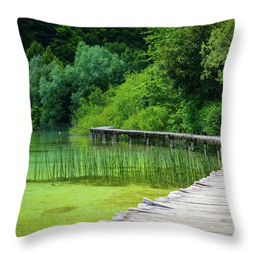 Wooden Path In The Forest Throw Pillow