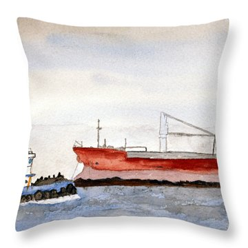 Working The Bay Throw Pillow by R Kyllo