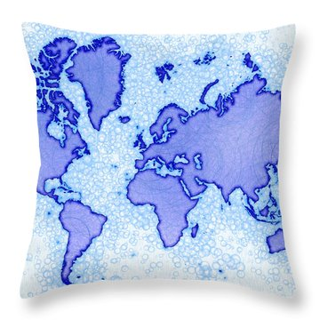 World Map Airy In Blue And White Throw Pillow by Eleven Corners