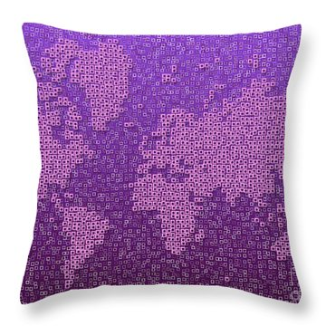 World Map Kotak In Purple Throw Pillow by Eleven Corners
