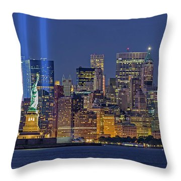 Throw Pillow featuring the photograph World Trade Center Wtc Tribute In Light Memorial II by Susan Candelario