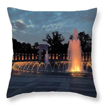 World War II Memorial Fountain Throw Pillow