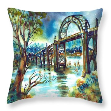 Yaquina Bay Bridge Throw Pillow