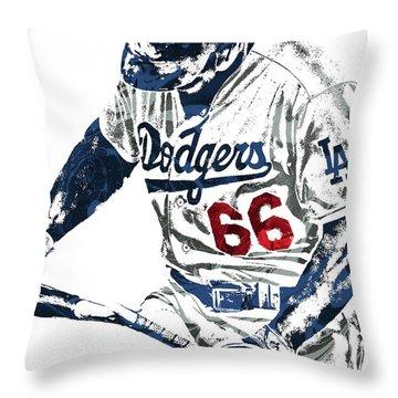 Throw Pillow featuring the mixed media Yasiel Puig Los Angeles Dodgers Pixel Art by Joe Hamilton