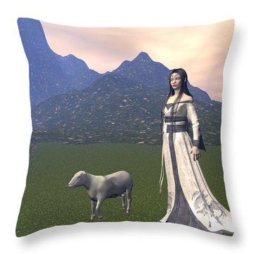 Year Of The Sheep Throw Pillow by Michele Wilson