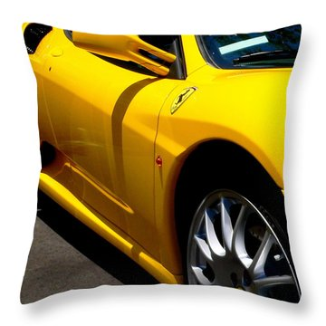 Yellow Ferrari Throw Pillow