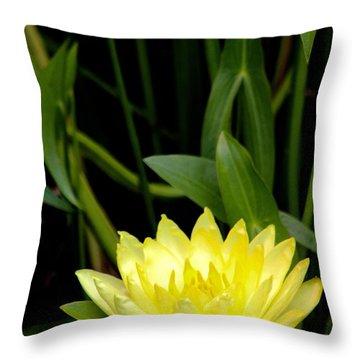 Yellow Lotus Throw Pillow