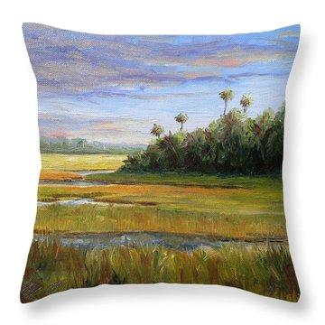 Yellow Marsh Throw Pillow by Beth Maddox