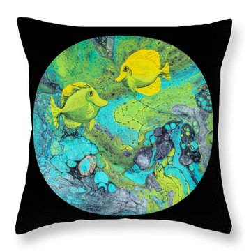 Throw Pillow featuring the painting Yellow Tang by Darice Machel McGuire