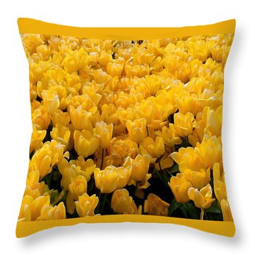 Yellow Tulips Throw Pillow by Karen Molenaar Terrell