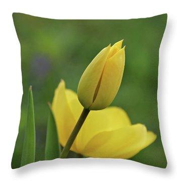 Yellow Tulips Throw Pillow by Sandy Keeton
