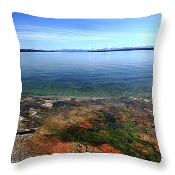 Throw Pillow featuring the photograph Yellowstone Lake Colors by Frank Romeo