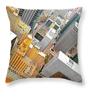 Yesterday's #birdseyeview Of #downtown Throw Pillow