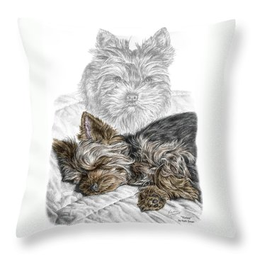 Throw Pillow featuring the drawing Yorkie - Yorkshire Terrier Dog Print by Kelli Swan