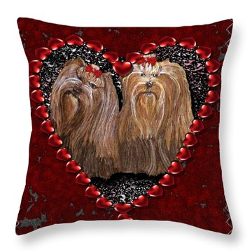 Throw Pillow featuring the digital art Yorkie Heart by Michelle Audas