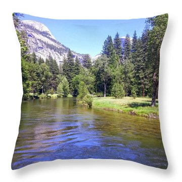 Yosemite Lazy River Throw Pillow