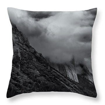 Yosemite Valley Panorama In Black And White Throw Pillow
