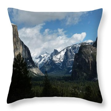 Yosemite Valley View In Winter Throw Pillow