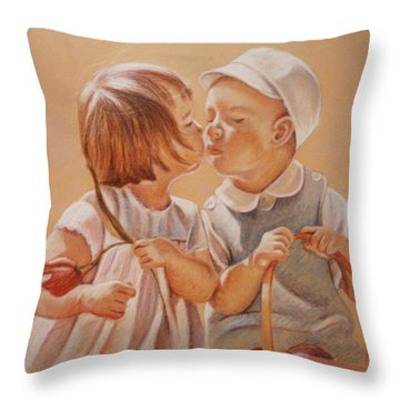 Throw Pillow featuring the painting Young Love  by Melinda Saminski