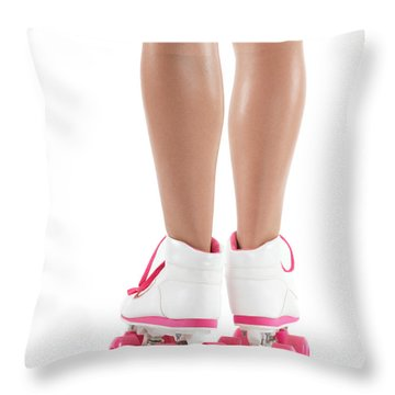 Young Woman Wearing Roller Derby Skates Throw Pillow by Oleksiy Maksymenko