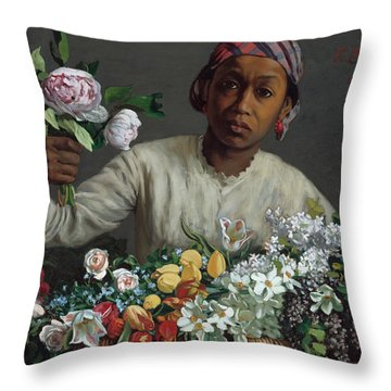 Young Woman With Peonies Throw Pillow