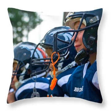 Youth Football Throw Pillow by Susan Leggett