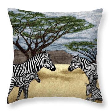 Zebra African Outback  Throw Pillow by Peter Piatt