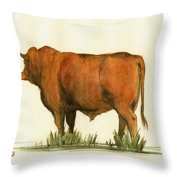 Zebu Cattle Art Painting Throw Pillow