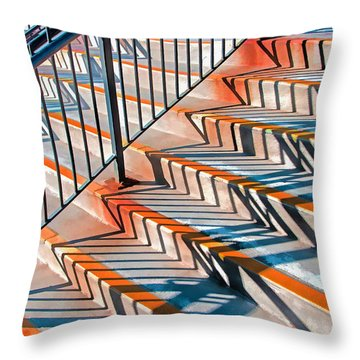 Zig Zag Shadows On Train Station Steps Throw Pillow
