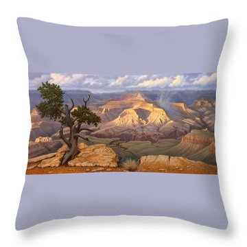 Zoroaster Temple From Yaki Point Throw Pillow by Paul Krapf