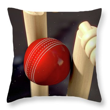Cricket Ball Hitting Wickets Throw Pillow