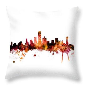 Dallas Texas Skyline Throw Pillow