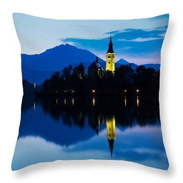 Throw Pillow featuring the photograph Dawn Breaks Over Lake Bled by Ian Middleton