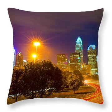 Downtown Of Charlotte  North Carolina Skyline Throw Pillow by Alex Grichenko
