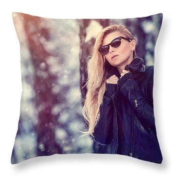 Fashion Woman Portrait Throw Pillow