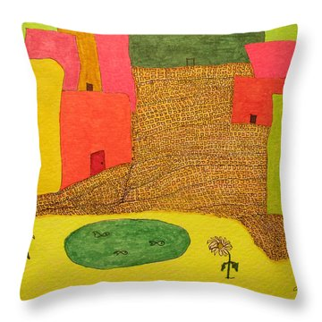 10 Flat Buildings With Fish Pool Throw Pillow