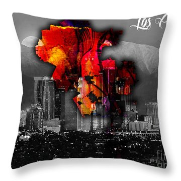 Los Angeles Map And Skyline Throw Pillow