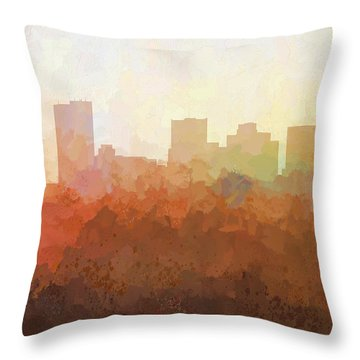 Throw Pillow featuring the digital art Phoenix Arizona Skyline by Marlene Watson
